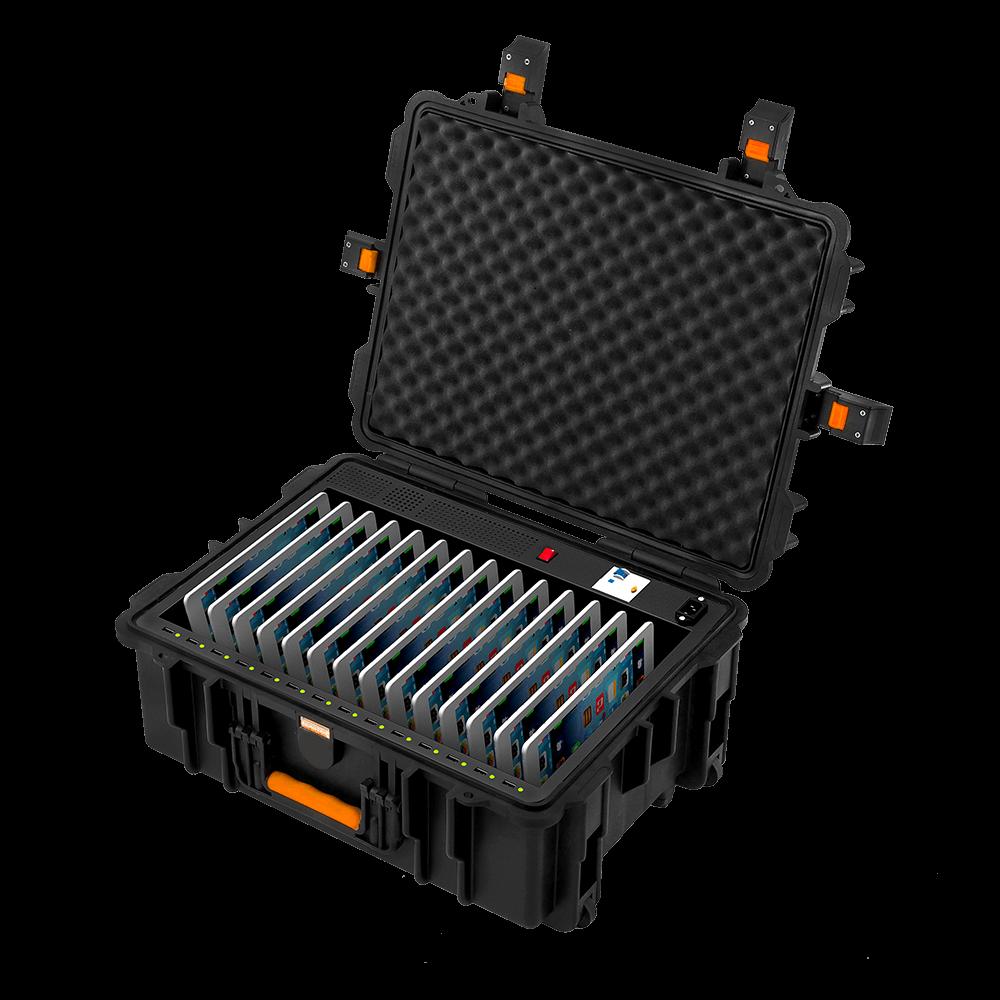 Tablettien lataamiseen ja kuljettamiseen suunniteltu vetolaukku